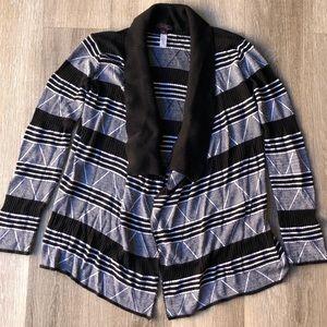 JW Style Open Drape Cardigan Black White
